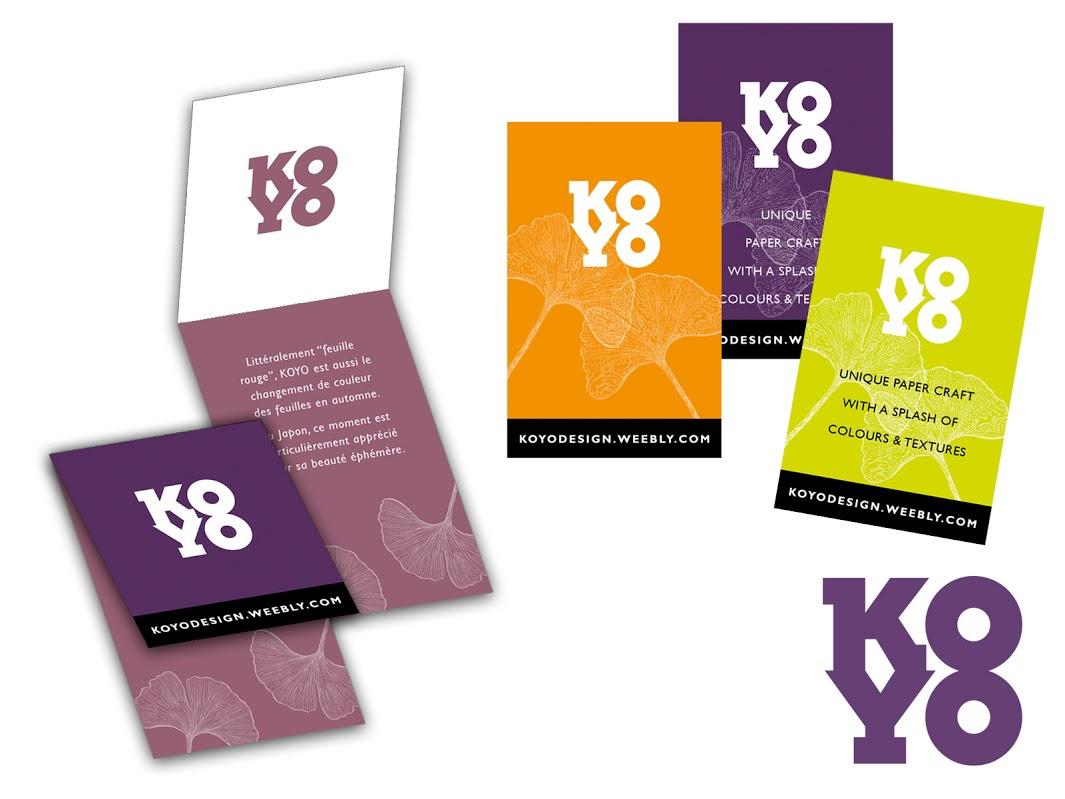Logo et cartes de visites pour KOYO DESIGN, artiste en création papier.