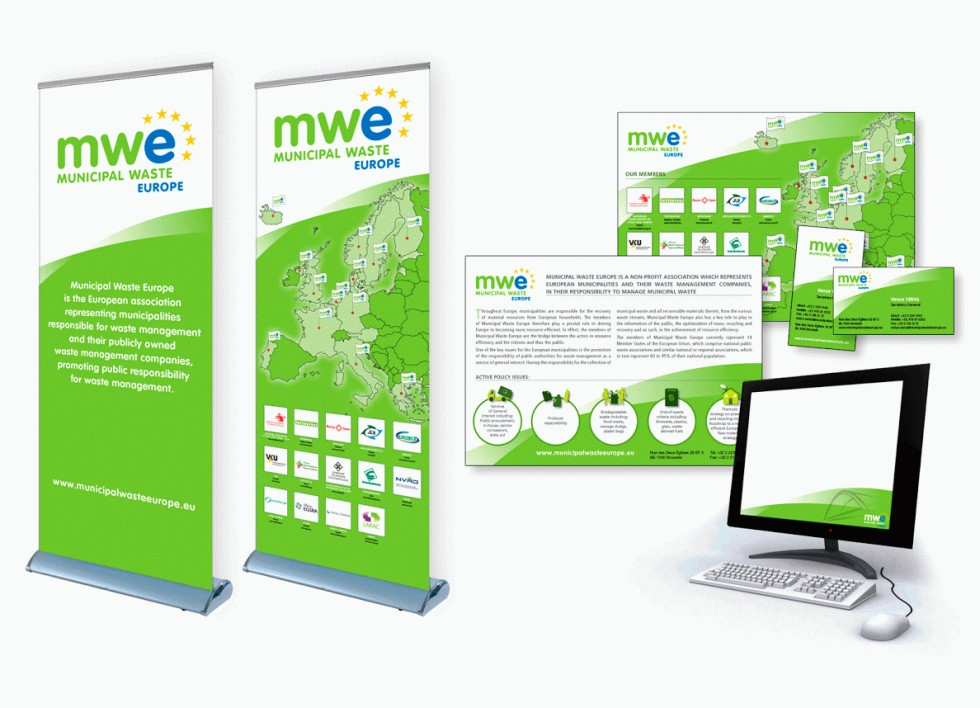 Publications, flyers, cartes de visites, templates PowerPoint, rollupset autres supports de communication pour Municipal Waste Europe.