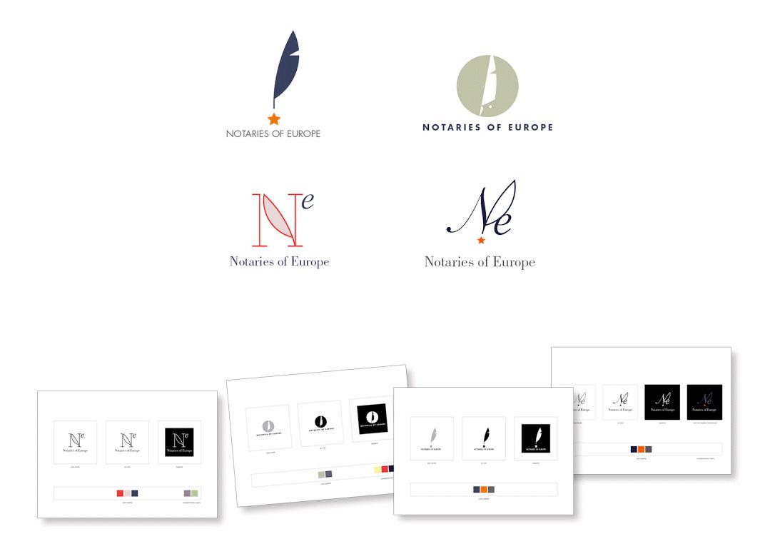 Propositions de logos pour l'association européenne des notaires.