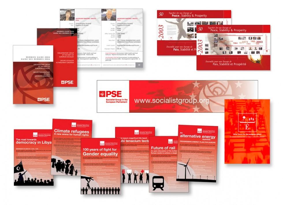 Publications pour le Parti Socialiste Européen. Brochures, panneaux, bandeaux, affiches, dépliants....