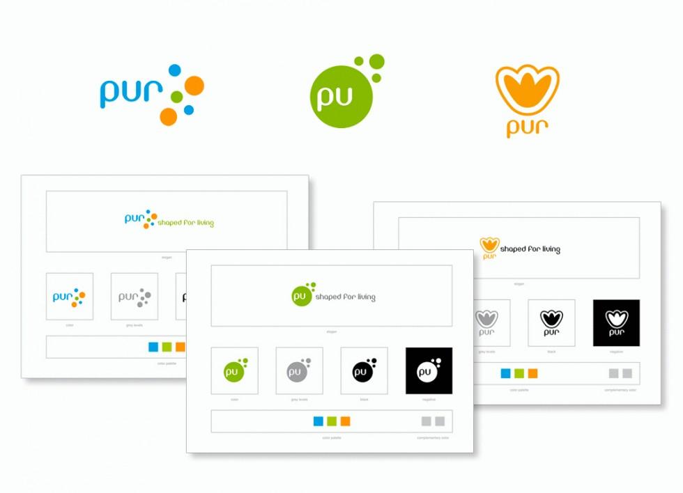 Propositions de logos pour PUR, l'industrie des producteurs de mousses polyurethane.