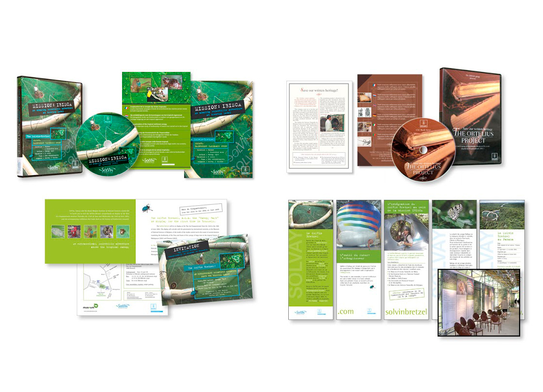 """SOLVAY: habillage de DVDs, invitations et panneaux pour les projets """"Mission Ibisca"""", 'The Ortelius Project"""" et """"Solvin Bretzel""""."""