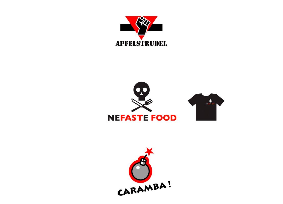 Logos pour un fabricant de T-shirts. La contrainte est de travailler en aplats de couleurs et dans un nombre minimum de couleurs.