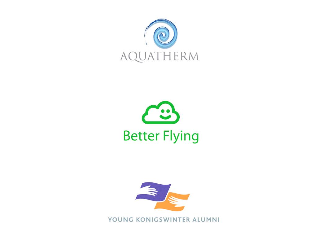 Logo pour un spa, pour ATAG (Air Transport Action Group) et pour une association d'anciens élèves de la Koningswinter.