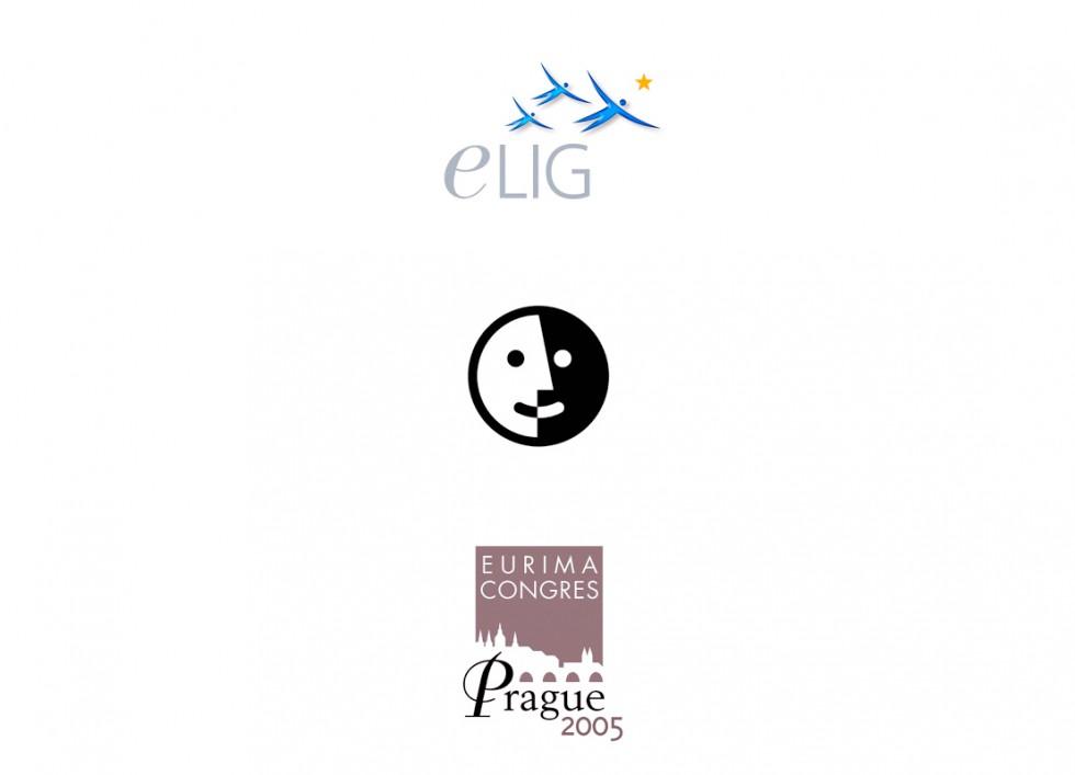 Logo pour la European Learning Industry Group, pour un groupe d'échange et de parole et pour un un congrès à Prague.