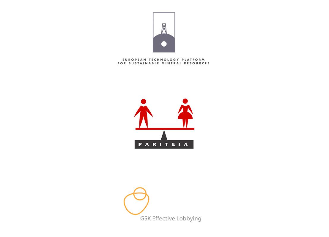 Logo pour la European Technology Platform for Sustainable Mineral Resources, le projet PARITEIA (parité homme / femme) et le groupe pharmaceutique GSK.