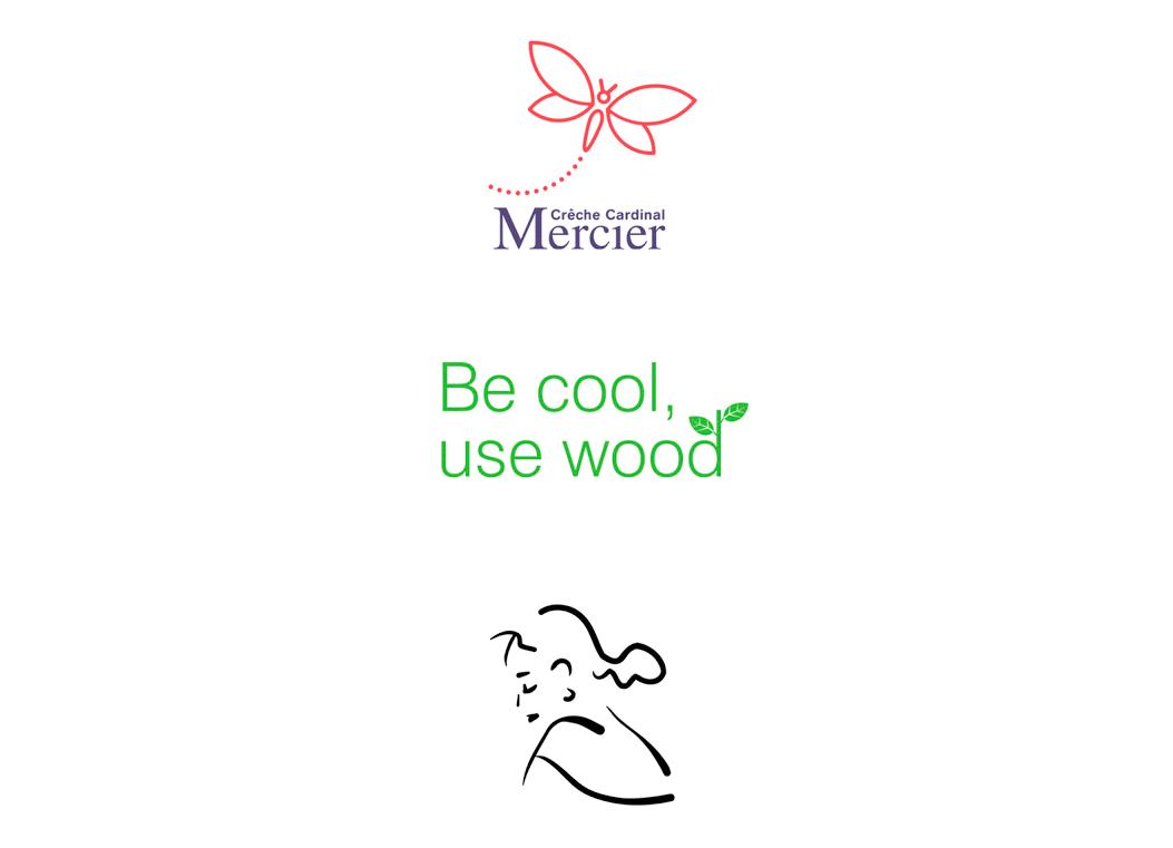 Logo pour une crêche, pour l'industrie du bois et un salon de coiffure.