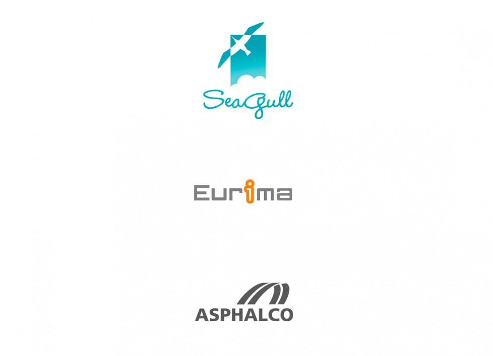 Logo pour une griffe de vêtement, l'association européenne des producteurs de matériaux isolants et un entrepreneur routier.