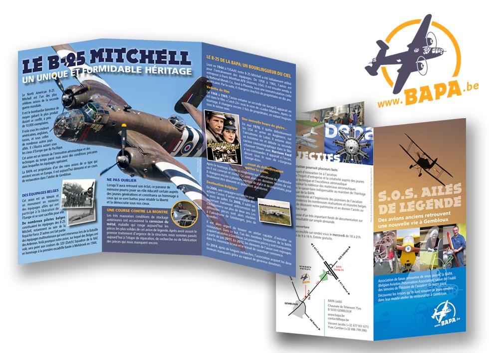 Flyer pour un atelier-musée d'aviation.