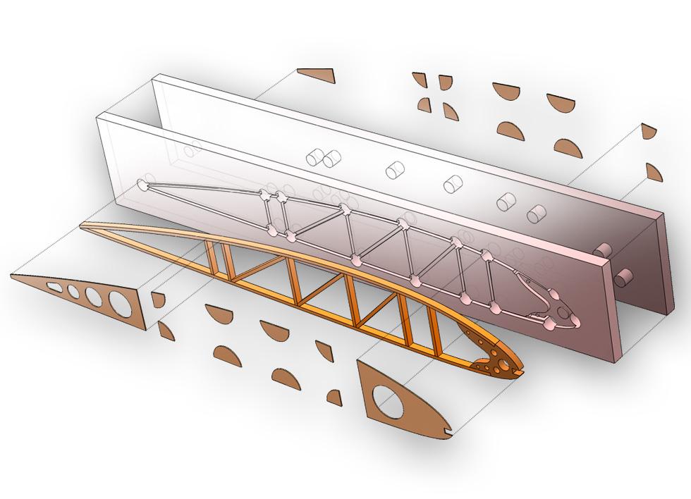 Conception d'un gabarit de nervure d'avion ancien. Le moule est réalisé en fraisage numérique et les petites pièces en contreplaqué sont découpées au laser.